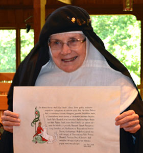 Mother Dolores with chart